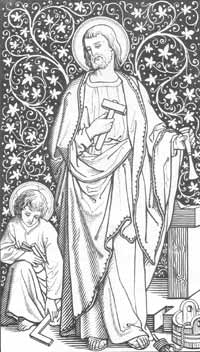 Saint Joseph working as a carpenter